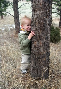 Our little tree hugger in the making.