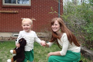 Matching skirts and puppy.