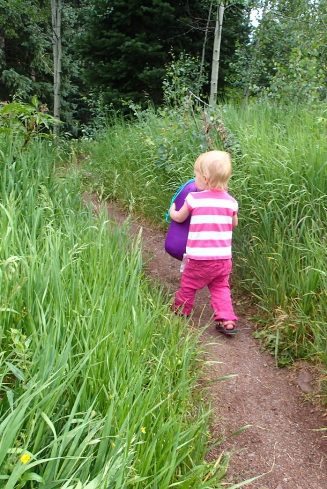 Ellen insisted on carrying her sleeping bag to our campsite.