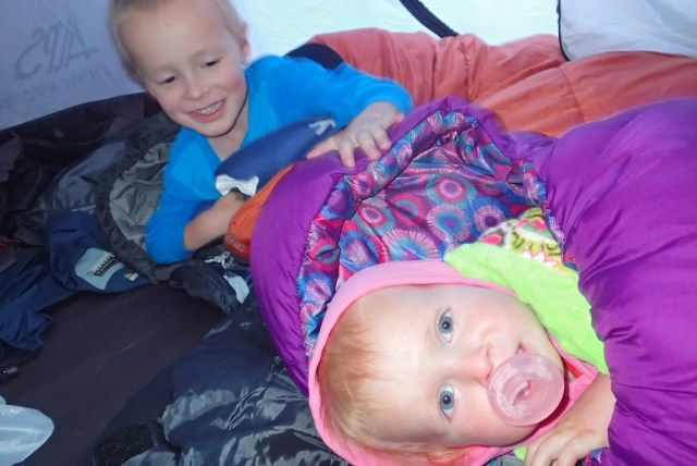 Kids messing around instead of sleeping.