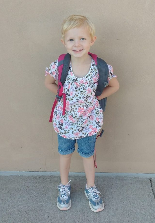 Ellen ready to head into class.