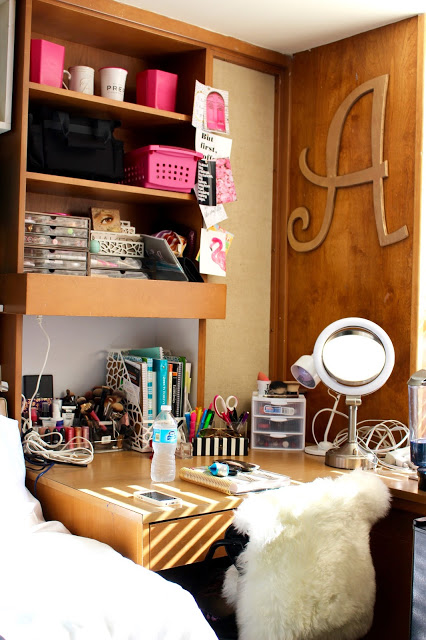 dorm desk overview - Texas Tech Dorm Rooms Tour by popular Texas lifestyle blogger Audrey Madison Stowe