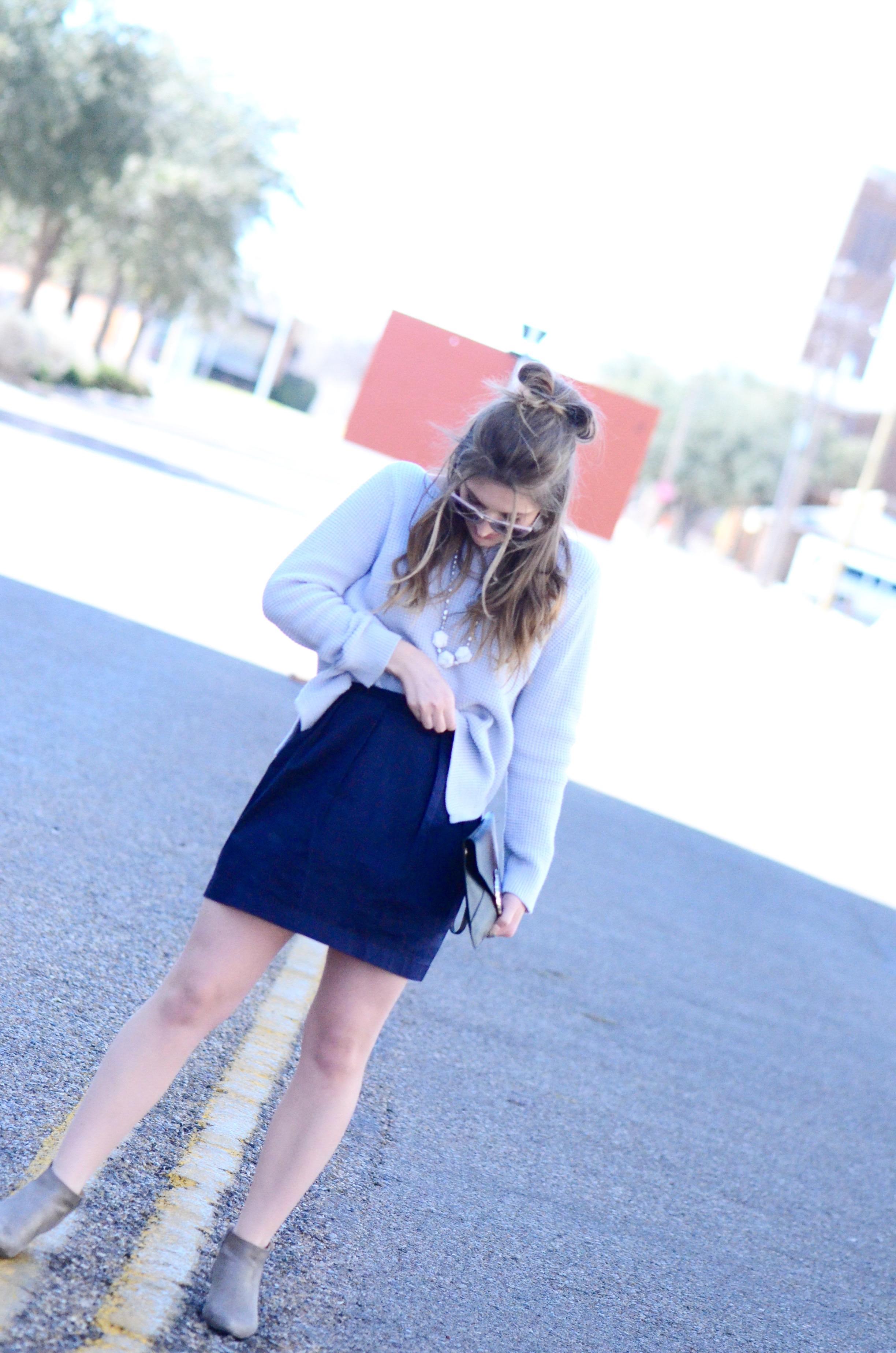 preppy navy skirt