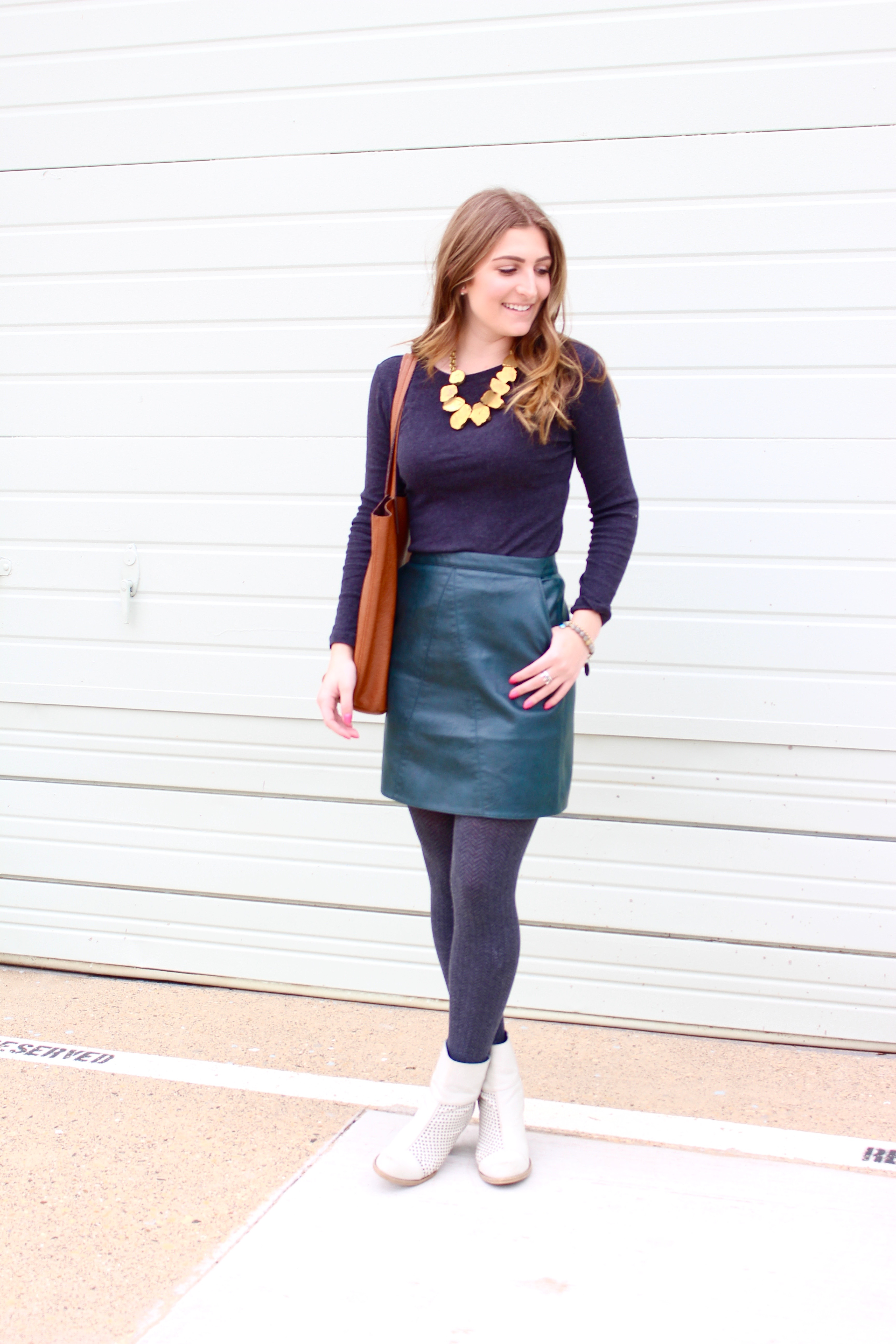 70's kind of look with green leather skirt - Green Leather Skirt by popular Texas fashion blogger Audrey Madison Stowe