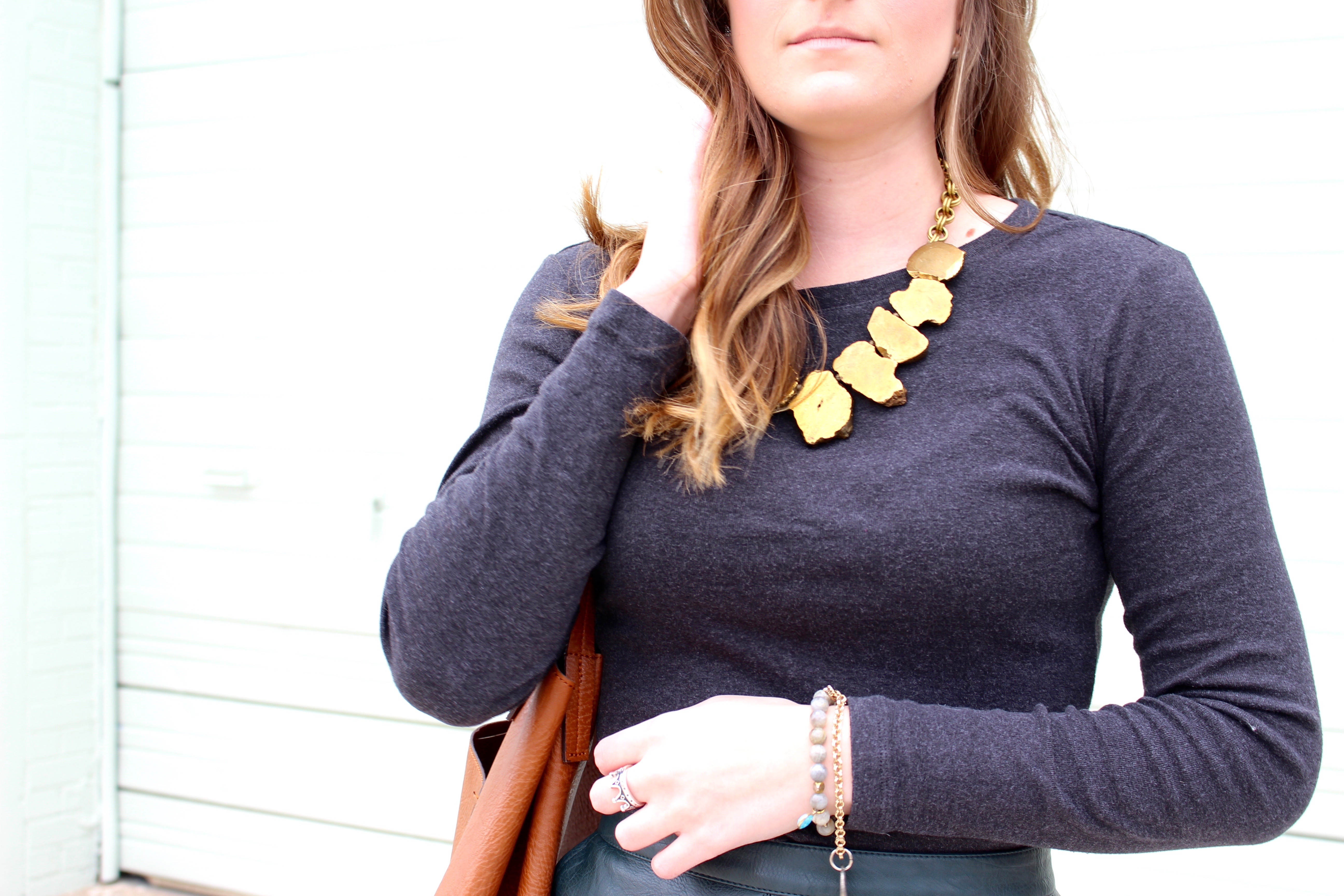 statement necklace and jewelry - Green Leather Skirt by popular Texas fashion blogger Audrey Madison Stowe
