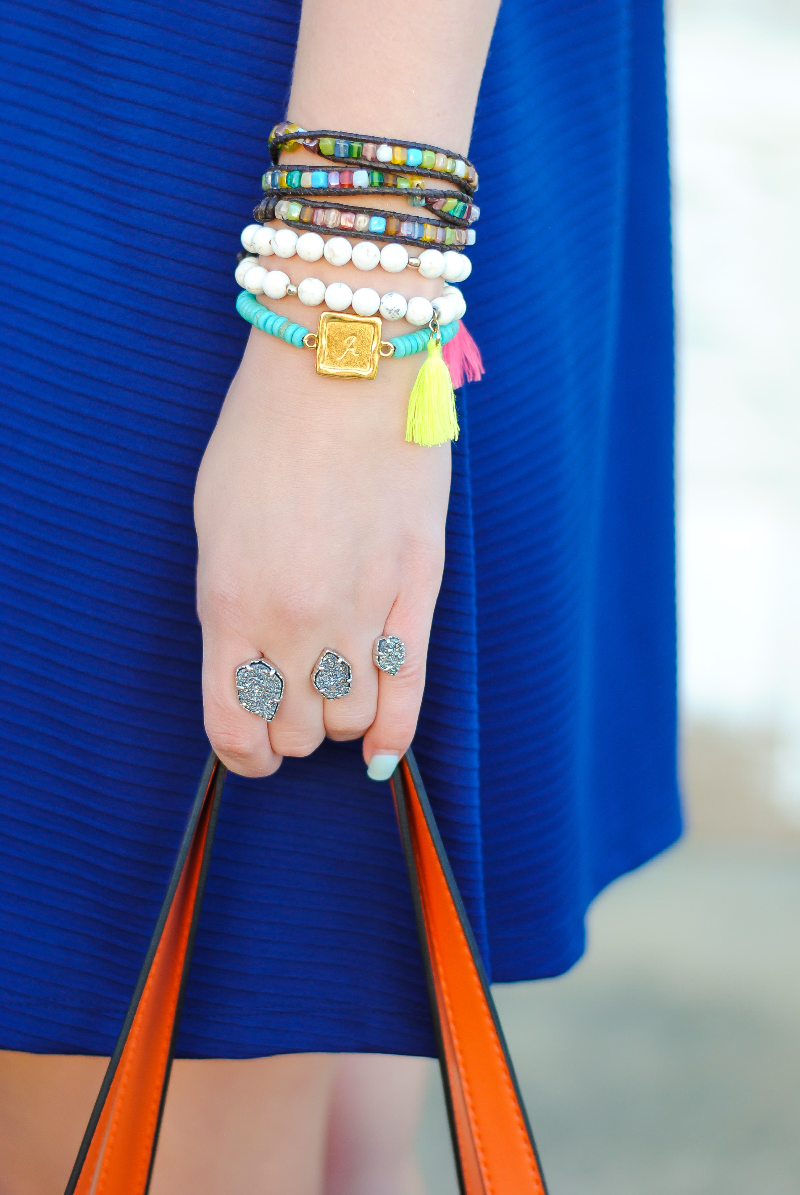 bright colored arm stack with taudrey jewels