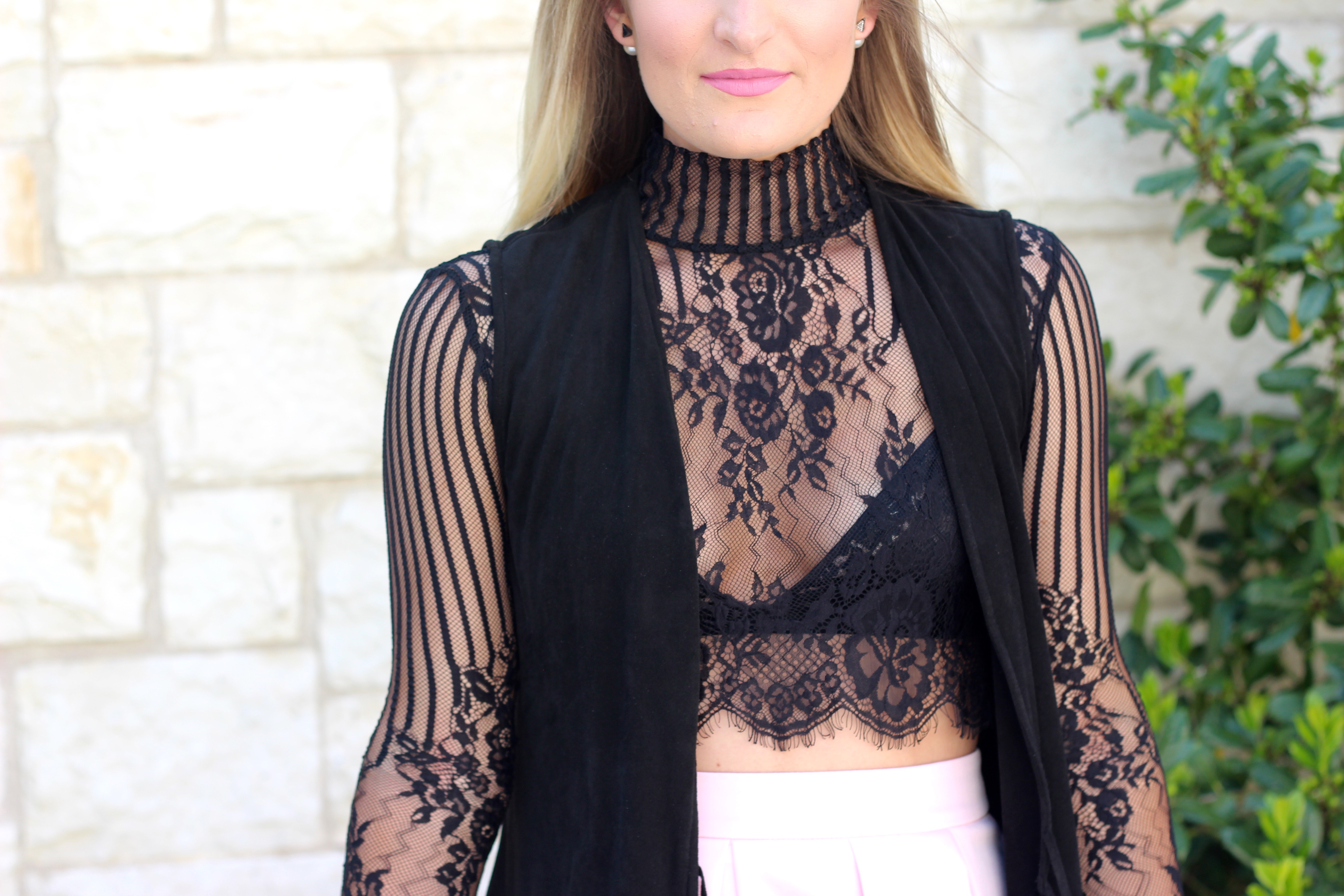 lace crop top detailing from asos - Lingerie Outfit By Day by popular Texas fashion blogger Audrey Madison Stowe