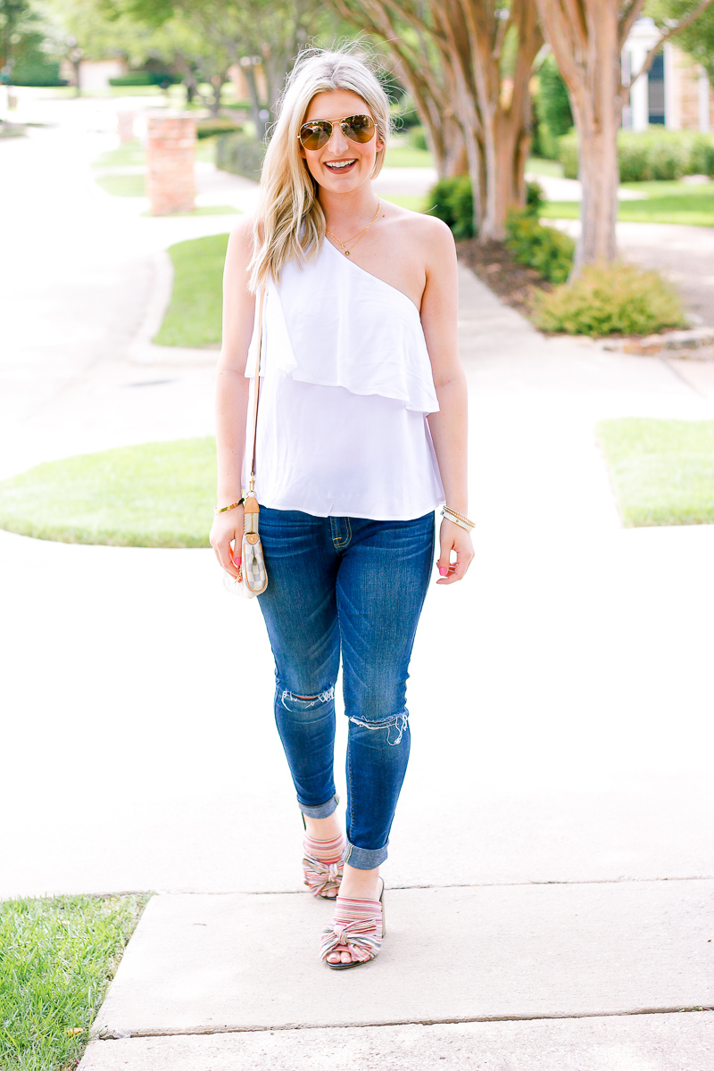 White One Shoulder Top + Bows on My Toes | Audrey Madison Stowe fashion and lifestyle blogger | Texas based | Easy Summer Look