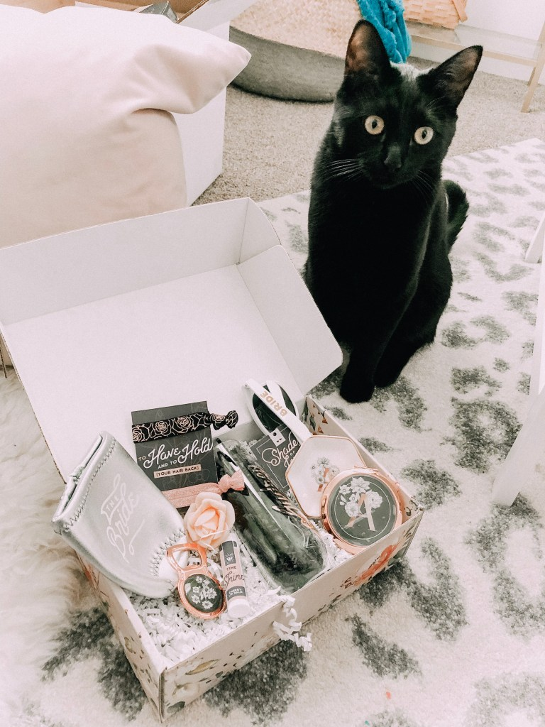 How to Ask your Bridesmaids featured by top US lifestyle blogger Audrey Madison Stowe; Black cat with a box