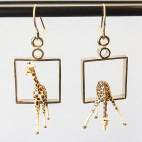 Giraffes in Squares Earrings