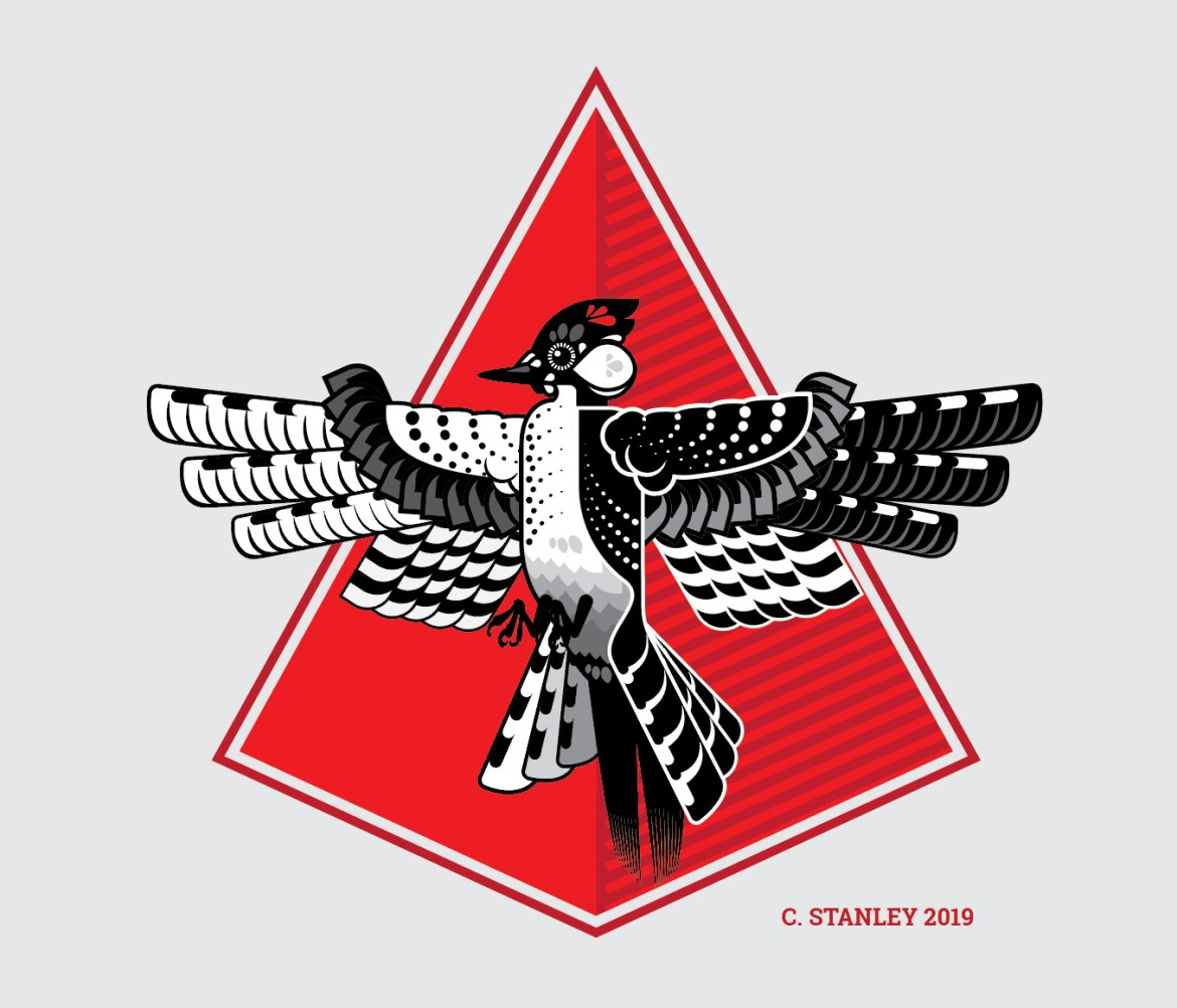 Mural of Red Cockaded WoodPecker inside a red triangle