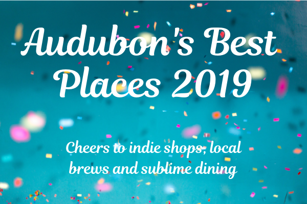 "Blue confetti back round with white text saying ""Audubon's Best Places 2019"" more text underneath reads ""cheers to indie shops, local brews and sublime dining"""