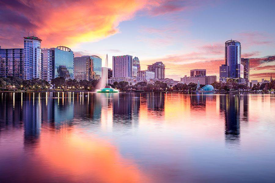 Sky line of Lake Eola