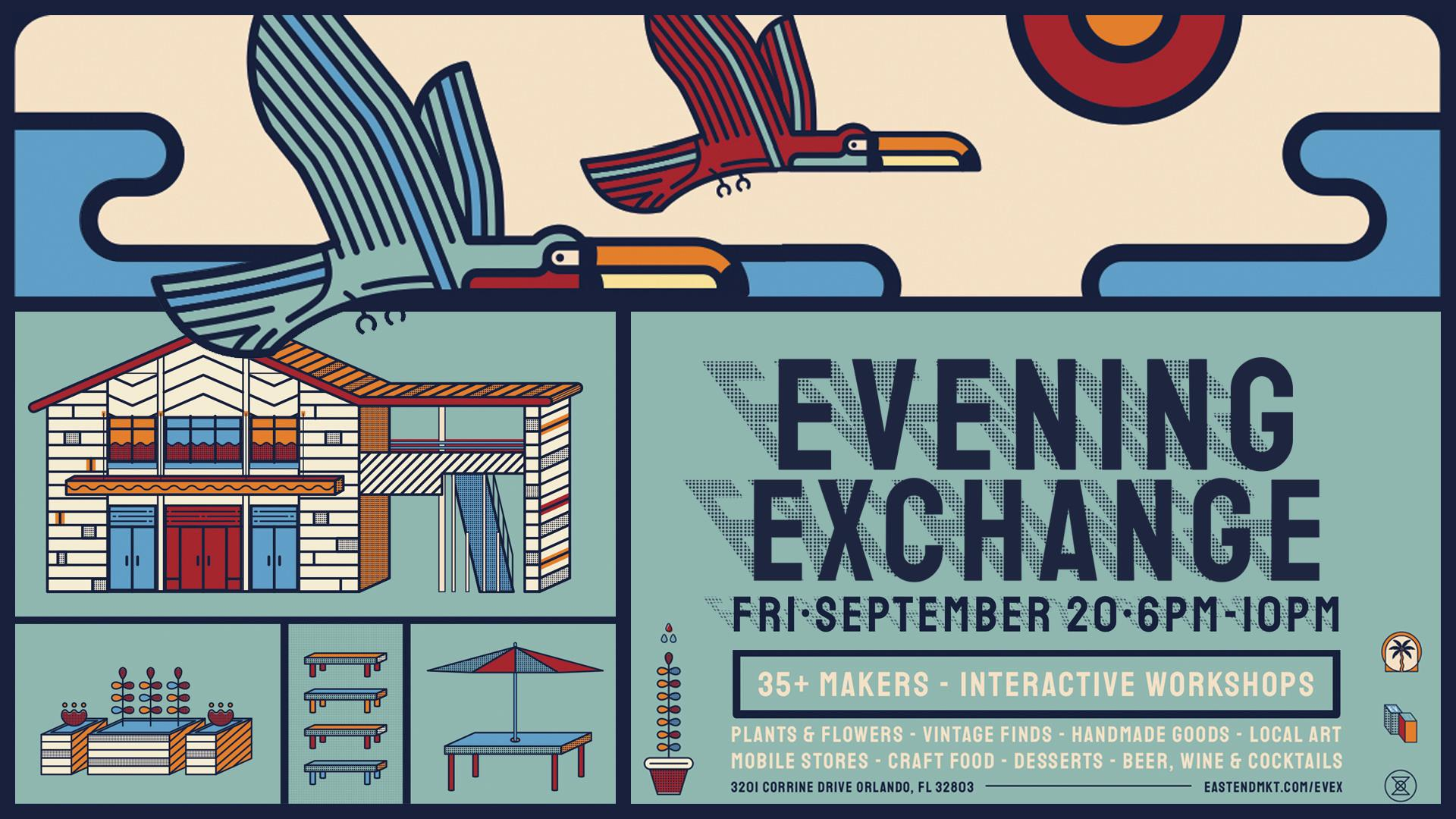 "Graphic text saying ""Evening Exchange"""