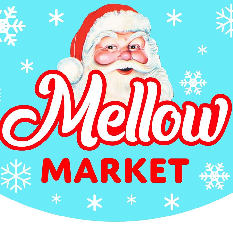 "A santa face with a light blue snowy back round and the text ""Mellow Market"""