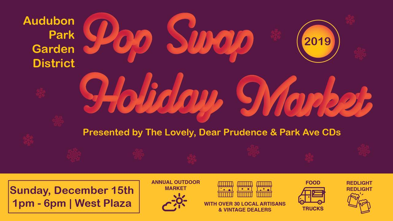 "A yellow and burgendy flyer with the text ""Pop Swap Holiday Market"""