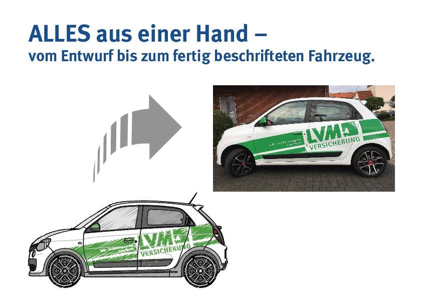 ALLES aus einer Hand – vom Entwurf bis zum fertig beschrifteten Fahrzeug.