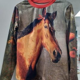 t-shirt adulte motif cheval marron et rouge