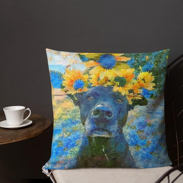 AugiDog Sunflower 18x18 throw pillow