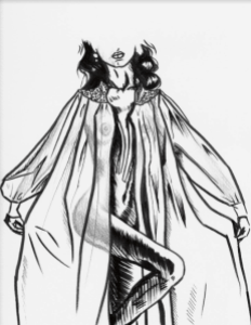 Black and white graphic image of a faceless figure wearing a large cloak