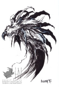 Dragon    A5    Brush pen, ink, white ink