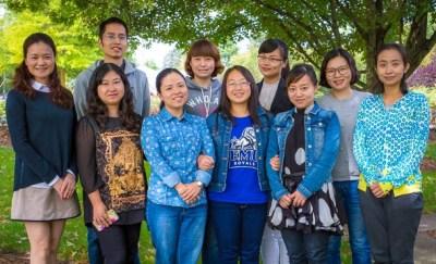 Ten English teachers from western China have joined the Eastern Mennonite University community for the 2015 fall semester. Back row, left to right: Changwan Yuan, Liu Yang, Jiao Chen, Qin Li. Front row: Hongjun Tang, Shuli Chang, Yi Wang, Yan Wang, Sha Kong, Qiuju Pu. (Photo by Kara Lofton)