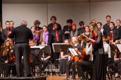 Eastern Mennonite University's annual gala concert, a fundraiser for the music scholarship fund, will unite the university's musical ensembles on Nov. 14 at 7 p.m. in Lehman Auditorium. (Photo of the 2014 concert by Michael Sheeler)