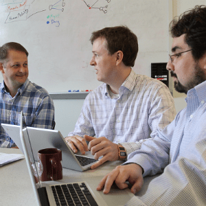 The Biocomplexity Institute's Zika modeling team. From left to right: Bryan Lewis, James Schlitt, and Pyrros Telionis.