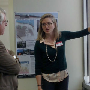 Graduate student Carlin Tacey presents her design for making the Rosslyn waterfront more inviting to the community.
