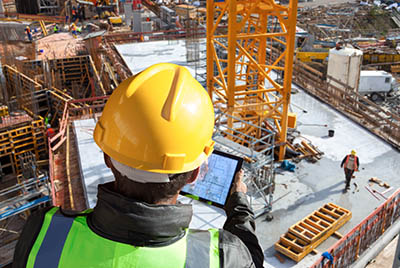 tablet at construction site