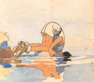 Scout tête dans l'eau