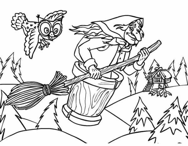 Раскраска Баба Яга - детские раскраски распечатать бесплатно