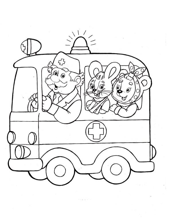 Раскраска Скорая помощь - детские раскраски распечатать ...