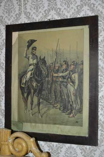 2. Prikaatin komentaja eversti G.C. von Döbeln tervehtii sotilaitaan ennen Juuttaan taistelua (Albert Edelfeltin piirros)