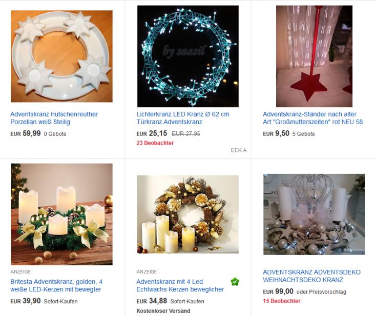 Adventskränze auf eBay