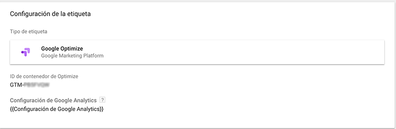 Instalar Google Optimize con Tag Manager