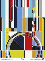 Representación do coñecido reloxo do Parlamento Británico realizado mediante columnas de cores.