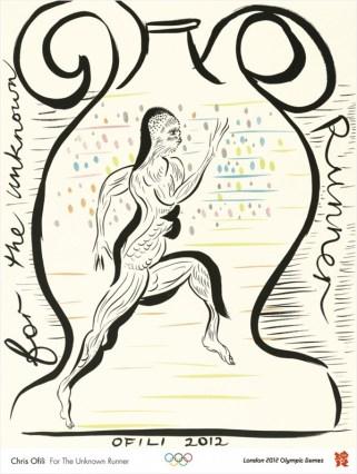 Cartel inspirado nos atletas pintados sobre as ánforas gregas.