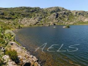 Orillas estables en la laguna de Lacillo, con el circo de Moncalvo al fondo