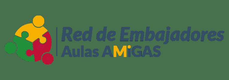 Logotipo Red de Embajadores Aulas Amigas horizontal colores