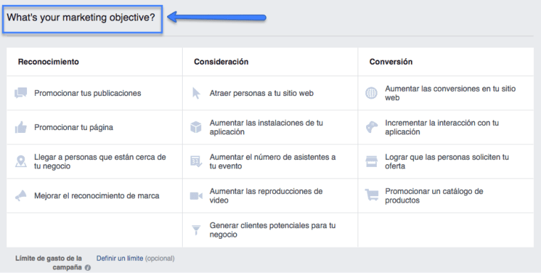 Objetivo de marketing en Facebook Ads