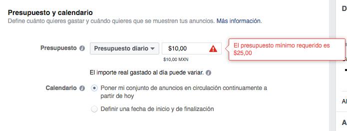 Presupuesto mínimo en facebook ads 25 pesos mx