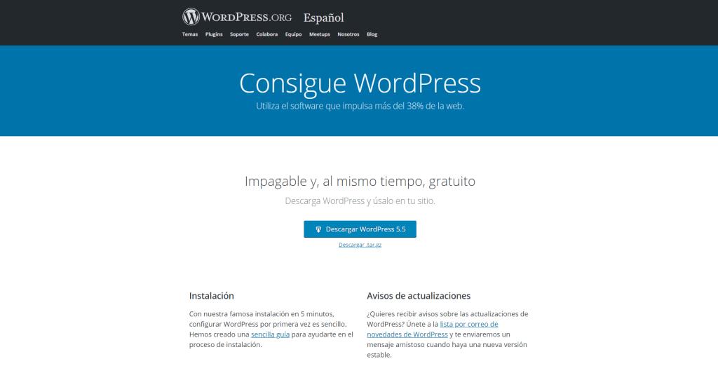 """WordPress.org """"Recomendado para crear una página web"""""""