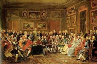 Anicet Charles Gabriel Lemonnier, Lectura en el salón de madame Geoffrin en 1755, 1812. Naturaleza Salvaje II: de la naturaleza contemplativa a la reforma rural. Ana González Serrano.