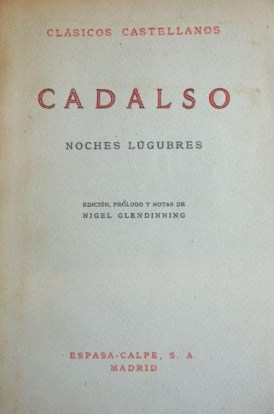 Portada de Noches lúgubres de José Cadalso en su edición de Espasa Calpe de 1961.