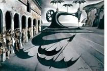 Máquina de coser con paraguas en un paisaje surrealista (1941) de Salvador Dalí