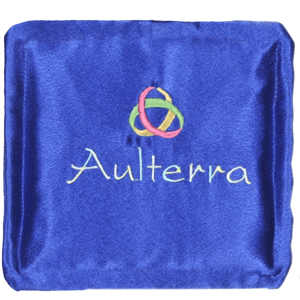 Blue pillow with mobius strip and word Aulterra