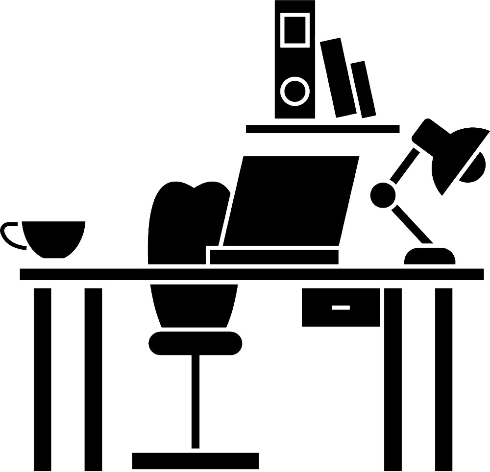 illustration of a desk with laptop computer