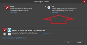 select export format
