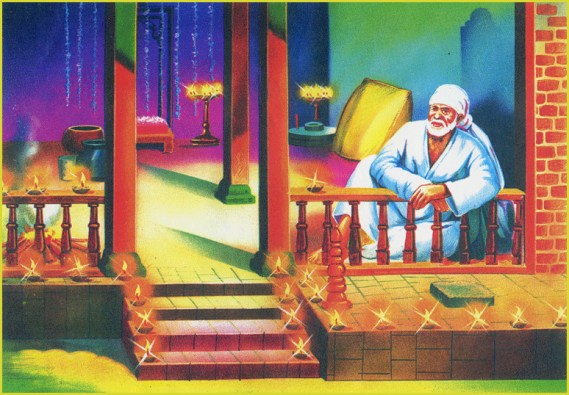 ...for warding off cold He always sat in front of a Dhuni (sacred fire) facing south with His left hand resting on the wooden railing.
